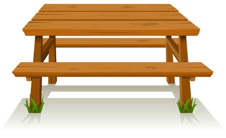 lunch break: Illustration of a cartoon wooden picnic table