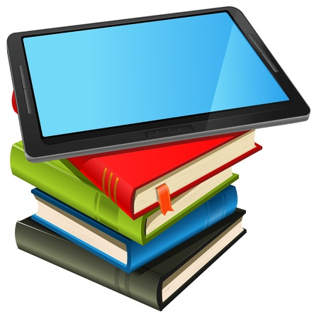 magazine stack: Illustration of a tablet pc e-book set upon a book stack.Imaginary model of tablet not made from a real existing product or copyrighted model