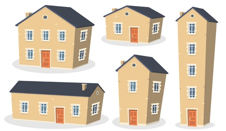 home icon: Illustration of a collection of cartoon european styled houses and residential apartments, isolated on white background