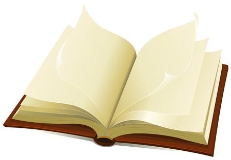 copertina libro antico: Illustrazione di un aperto marrone vecchio e rivestito in pelle libro con le pagine strappate flipping