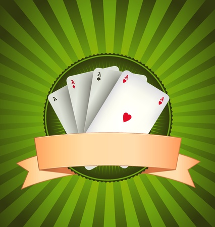 playing card symbols: Illustration of a vintage banner with four poker aces on green gambling background, for poker, bridge or casino advertisement
