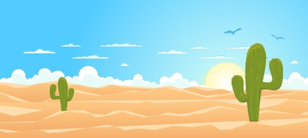 Illustration of a cartoon mexican or Texas desert landscape with cactus, sand dunes and vultures flying in the sky Vector