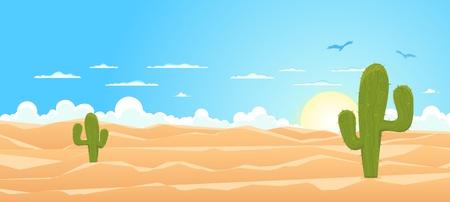 plantas del desierto: Ilustración de una caricatura mexicana o el paisaje de Texas desierto con cactus, las dunas de arena y buitres volando en el cielo