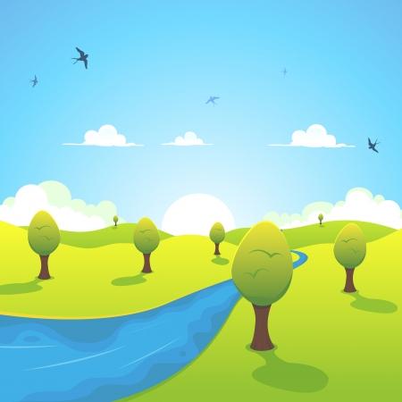 golondrinas: Ilustración de un paisaje de dibujos animados río país con golondrinas volando en el cielo simbolizando la temporada de primavera o de verano
