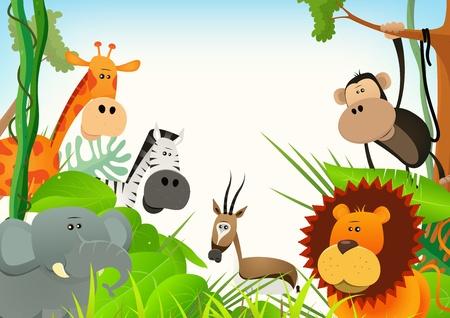 sfondo giungla: Illustrazione di simpatici animali selvatici provenienti da vari cartoni animati savana africana, tra cui leoni, elefanti, giraffe, gazzelle, scimmie e zebre con sfondo della giungla