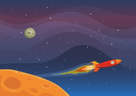 Illustration of a rocket spaceship flying through outer space among planets and stars Vector