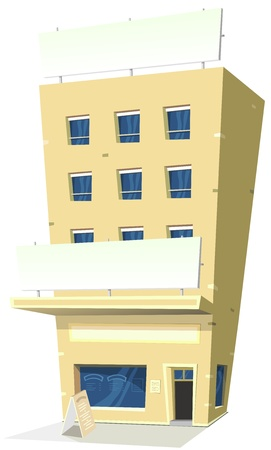 hotel building: Illustration of a cartoon inn hotel restaurant with banner and copy space