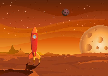 imaginary: Illustration of a cartoon spaceship landing on martian red desert landscape