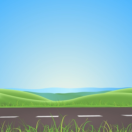 Illustration of a spring or summer season road on nature landscape with lawn and fields behind Illustration