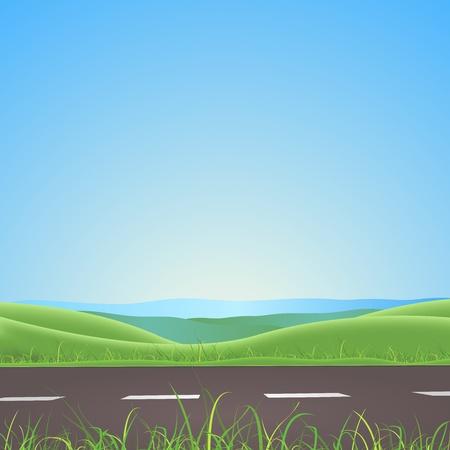 prato e cielo: Illustrazione di una molla o la stagione estiva sulla strada paesaggio con prato e campi dietro