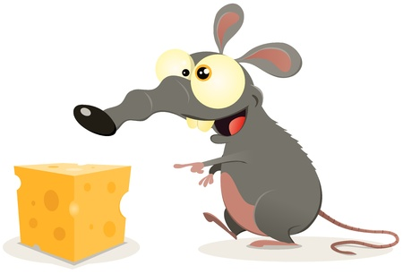 Illustration of a cartoon mouse or rattus norvegicus finding a piece of cheese to eat