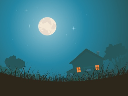 Illustration of a house on a starry moonrise background with grass silhouettes at the foreground Vector