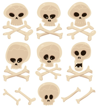 Illustration of a cartoon collection of various skulls and cross bones Stock Vector - 13043227