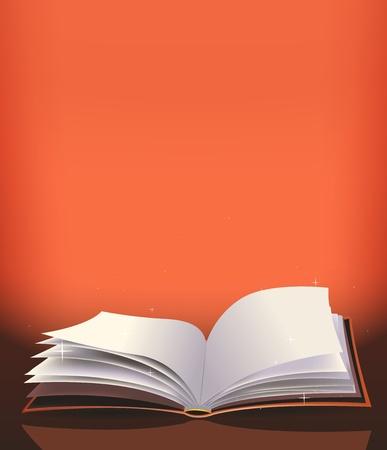 Illustratie van een cartoon magisch open rood boek voor sprookjes of gebed achtergrond