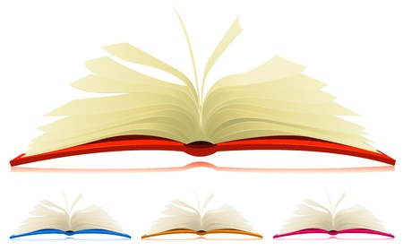 Illustration of a set of cartoon opened books in four different colors with flipping pages Vector