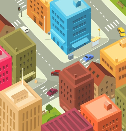 Illustration of a cartoon city scene, with aerial view of downtown traffic