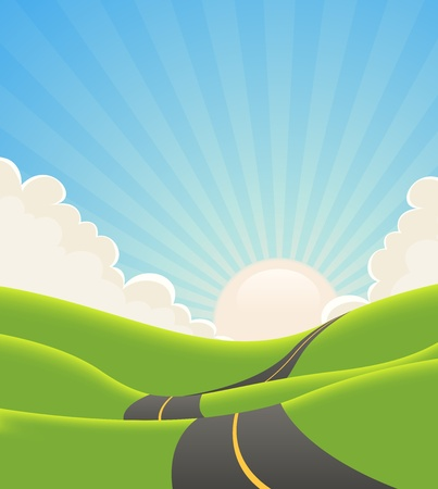Illustrazione di un cartone animato lunga strada che serpeggia all'interno di colline verdi in primavera o estate paesaggio