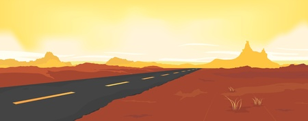 illustration for advertising: Illustration of a wide desert landscape road background for summer or spring seasons advertising Illustration