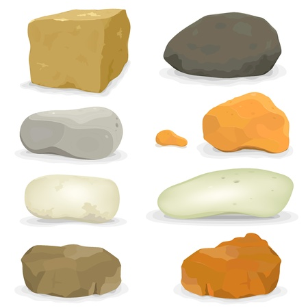 ore: Illustration of a set of various cartoon styled rocks and other boulders, ore and minerals Illustration