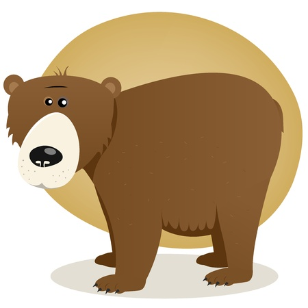 Illustration of a friendly cartoon brown american bear Vector