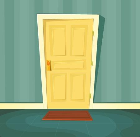 front door: Illustration of a cartoon front door inside house interior scene