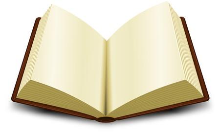 Illustratie van een cartoon geopend bruine boek Vector Illustratie