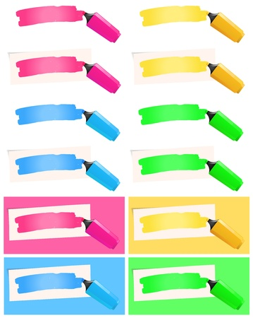 Illustration of a collection with various fluorescent highlighter pen in yellow, pink, blue and green Vector