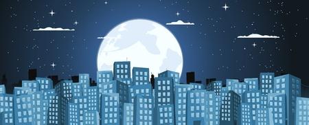 store window: Illustratie van een blauwe cartoon grote stad met gebouwen banner 's nachts wanneer mensen in slaap zijn Stock Illustratie