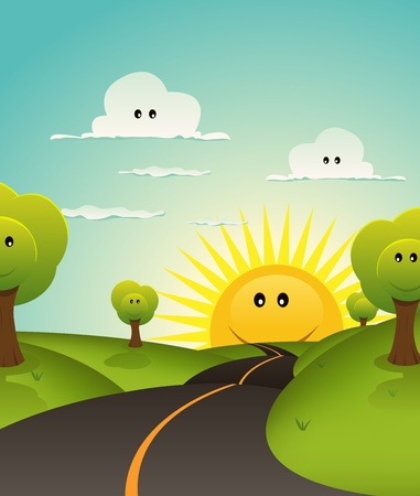 green fields: Illustration of a cute childish spring or summer landscape with happy smiling clouds, trees and sun characters Illustration