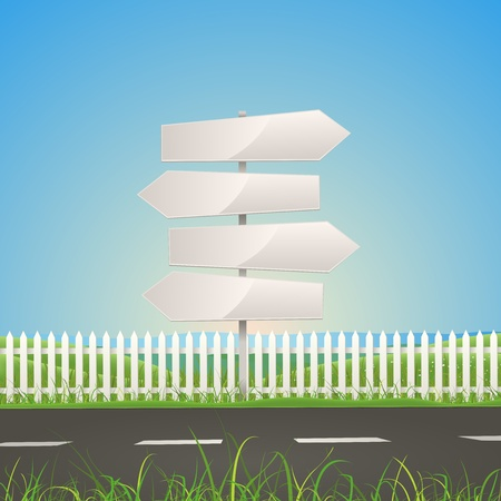 Illustration of a summer or spring season road on nature landscape with white arrow road signs Vector