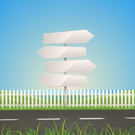 transporte terrestre: Ilustración de un verano o un camino temporada de primavera en el paisaje de la naturaleza con signos de flecha blanca carretera Vectores