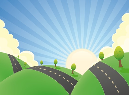 Illustration of a cartoon rounded road snaking in a spring or summer landscape with hills of fields and grass Vector