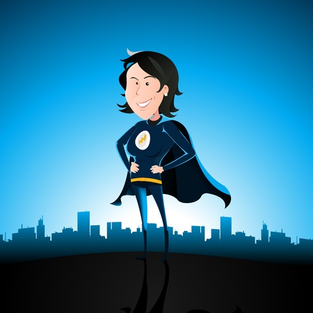 woman behind: Illustration of a cartoon sexy superhero woman standing proudly with cityscape behind