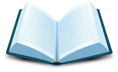 historias biblicas: Ilustración de una caricatura abrió el libro azul con líneas de texto