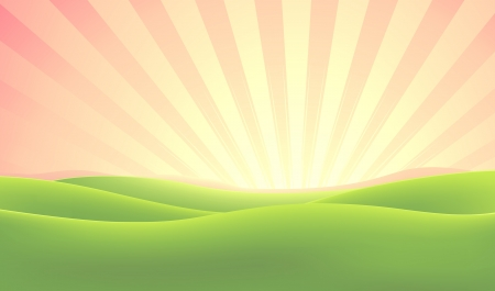 sunbeams: Illustration of a spring or summer morning sky with green fields