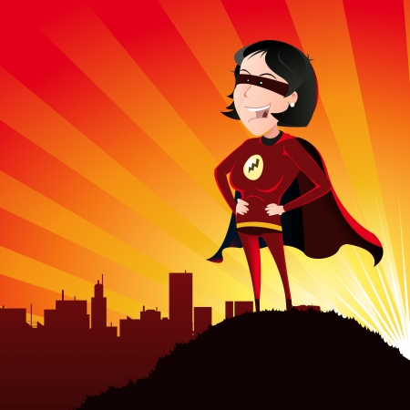 superhero: Illustration of a cartoon super hero woman standing proudly on the outskirts of the city over which she watches and the sun beams behind