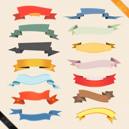 Illustration of a set of various colored banners, origami, ribbons, swirls and scrolls to use as ornaments Vector