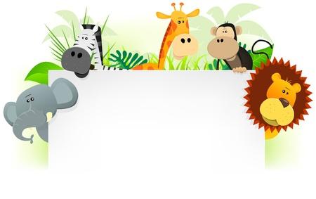 mono caricatura: Ilustraci�n de los animales lindos de la historieta salvajes de la sabana africana, entre ellos leones, elefantes, jirafas, monos y cebras con el fondo de la selva. Para su uso como membrete