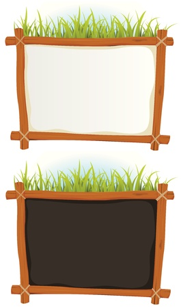 blackboard cartoon: Illustration of a set of two cartoon wood frame with blank white and black sign for announcement and advertisement