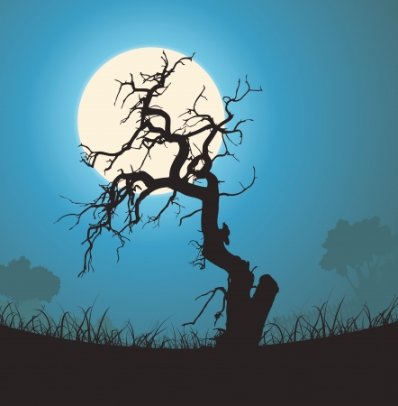 dead tree: Illustration of a halloween frightening weirdly shaped dead tree inside garden landscape with full moon in the background