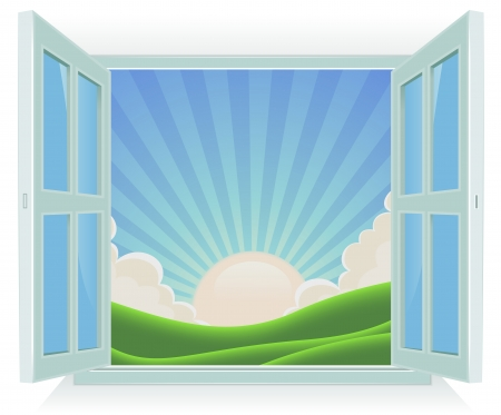 Illustration of spring or summer sunrise landscape viewed by an open window Vector
