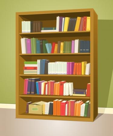 clasificacion: Ilustraci�n de una casa de dibujos animados o estanter�a de madera de la escuela dentro de la tienda biblioteca con libros de filas