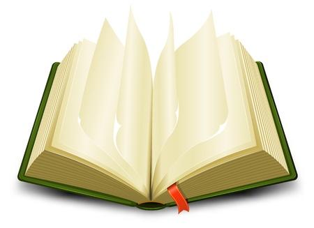 Illustrazione di un cartone animato aperto libro verde con le pagine che lancia e un segnalibro rosso Vettoriali