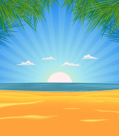 Illustration of a spring or summer tropical beach with palm tree leaves, sand, and  ocean in the sunrise Vector