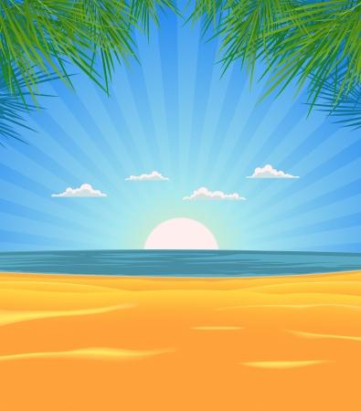 duna: Ilustraci�n de una primavera o verano en la playa tropical con hojas de palmeras, arena y mar en la salida del sol Vectores