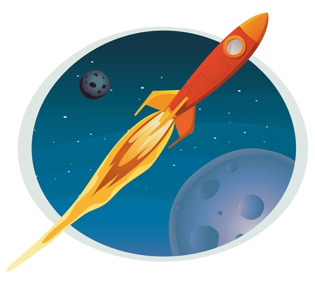Illustration of a cartoon spaceship flying through outer space background