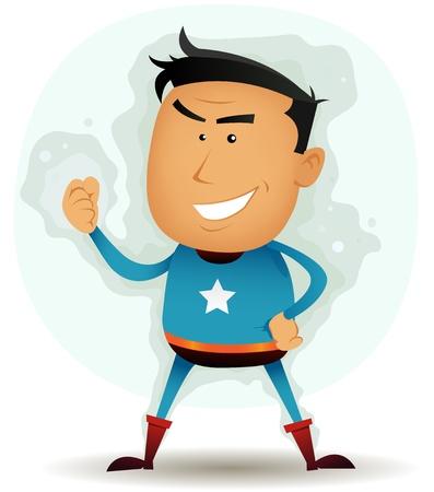vendicatore: Illustrazione di un buffo personaggio supereroe fumetto in piedi con orgoglio