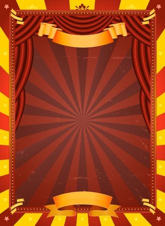 Illustratie van een retro rood en geel circus achtergrond met grunge textuur en rode gordijnen voor kunst evenementen en entertainment achtergrond
