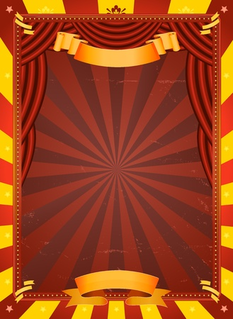Illustration of a retro red and yellow circus background with grunge texture and red curtains for arts events and entertainment background Vector