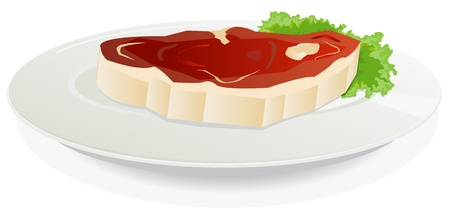 steak plate: Illustration of a piece of beefsteak in a dish plate on a leaf of lettuce salad